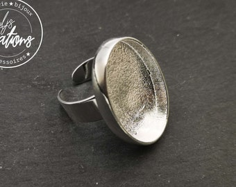 With default - GM 21x30x4mm oval ring holder - Laiton/iron silver finish 925 - Made in France