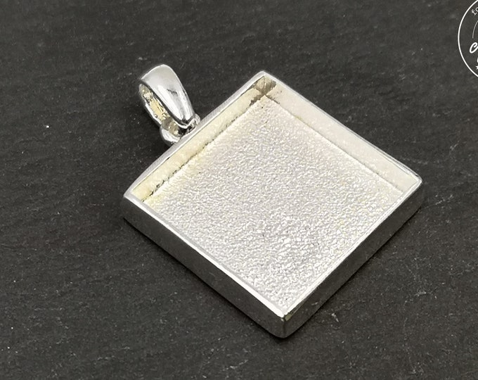 Square pendant holder with 22.50x22.50X4mm - 925 silver finish tin - Made in France