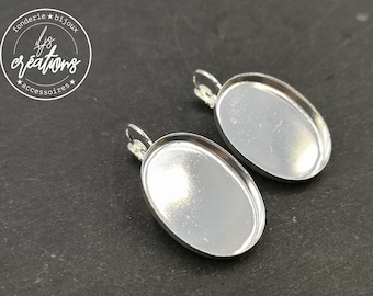 Earrings with sleepers 18x25x3mm - brass silver finish 925