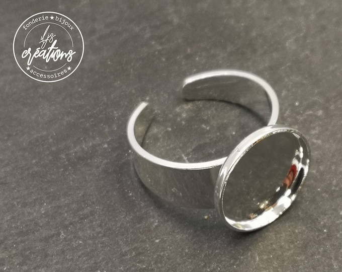 Round ring holder (for children) - 12x1.5mm brass silver finish 925 - Made in France