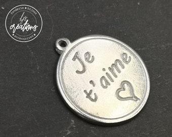 White Iron medal ø25mm-I love you