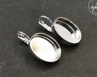 Earrings with 13x18x5mm oval sleepers - silver finish brass 925