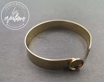 10x1mm ribbon bracelet with bowl - gold finish brass