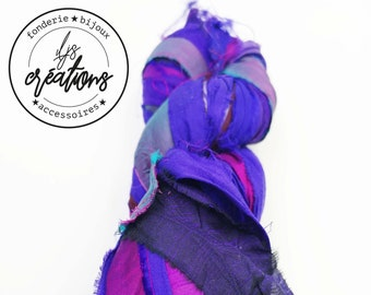 1m recycled silk from Sari - Violet / pink