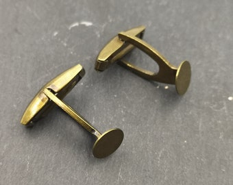 Cufflinks with round tray - Brass finish brass