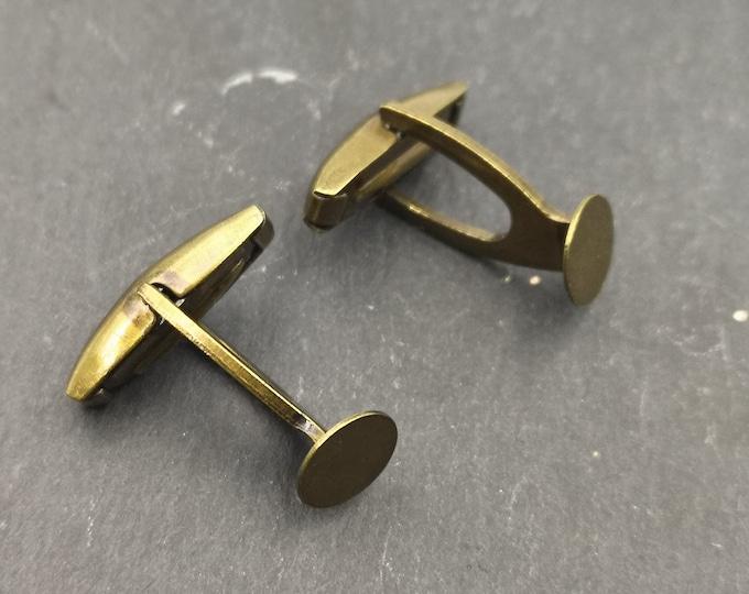 Cuff links with tray o7, 5mm - brass finish brass round