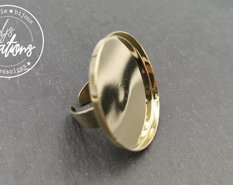 Round ring - 35x2.5mm brass finish or fine gold - Made in France