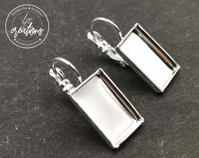 Rectangle earrings 9x14X2mm - Silver finish laiton 925 - with sleepers