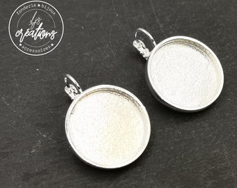 Supports round earrings - 925 silver finish tin - Made in France