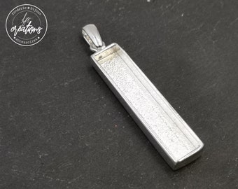 Long rectangle pendant holder - 8x40X4mm bead - 925 silver finish tin - Made in France