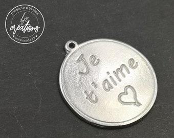 White Iron medal ø30mm-I love you