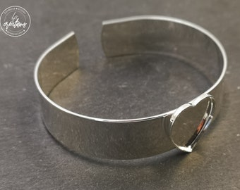 """Made in France - 13mm and Bowl 16x18x1mm """"heart"""" Ribbon Bracelet - brass/Tin finish 925 sterling silver"""