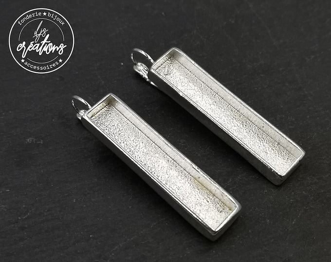 Made in France - Support earrings with 8x40X4mm sleepers - silver finish tin 925