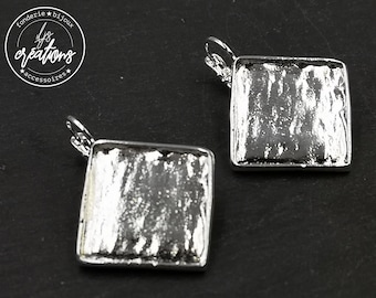 Earrings 19x50x19.50x2mm - silver finish 925 iron/brass - with sleepers