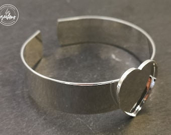 """Made in France - 13mm ribbon bracelet and 20x23x1mm c""""heart bowl"""" - Laiton/white silver finish 925"""