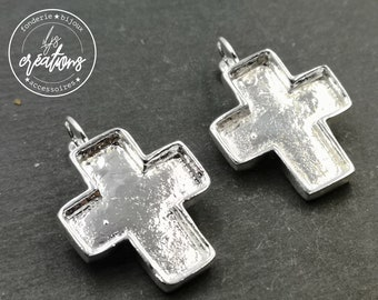 Support Cross earrings with sleepers 24x27x3mm - Brass/white tin silver finish 925