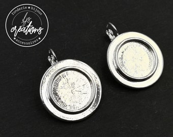 Support earrings with sleepers '27mm with bowl of '16x1.5mm - tin finish silver 925 - Made in France