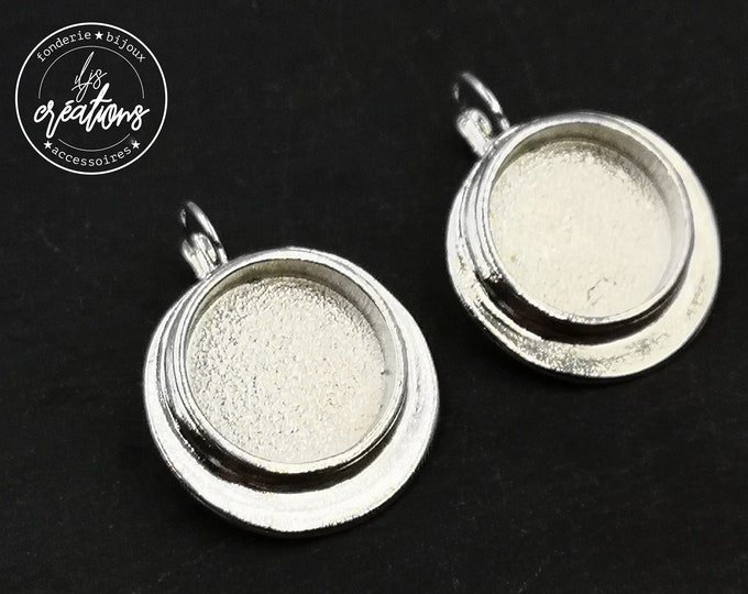 Earrings with sleepers - 26mm with bowl of 18x4mm - brass/iron silver finish 925