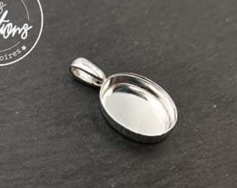 13x18x4.5mm oval pendant in brass silver finish 925 - made in France