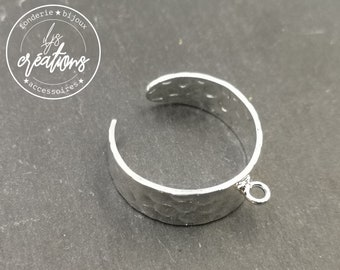 8mm hammered ring support with silver finish brass ring