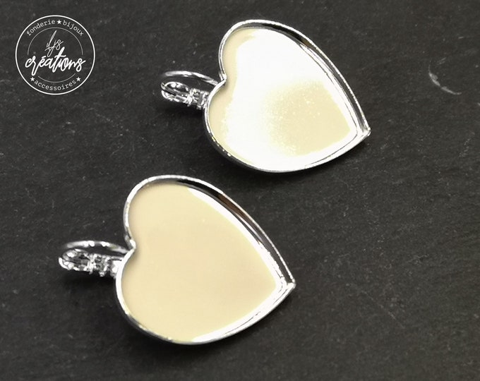 """Heart"" earrings with lever 21x23x1mm - 925 Silver finish brass"