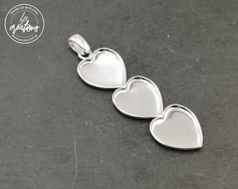 "Pendant ""Multi hearts"" 16x18x1mm 3coeurs + bail - 925 Silver finish brass"