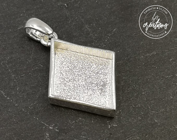 Diamond pendant support with 21x26x4mm tin tin holder silver finish 925 - Made in france