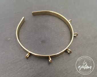 Made in France - 5x1mm with 5 rings Ribbon Bracelet - brass gilded with fine gold - Made in France