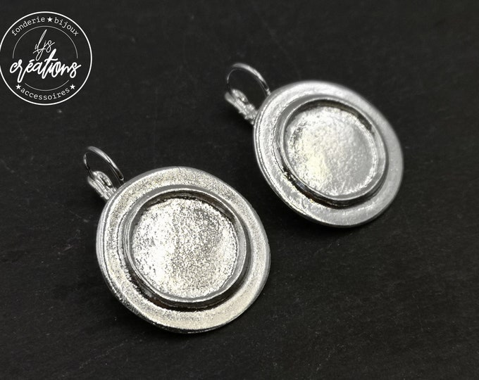 Earrings with sleepers - 25mm with bowl of 16x2mm - brass/iron silver finish 925