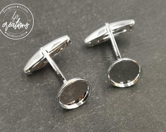 Cufflinks with round tray - silver