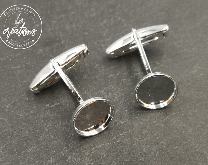 Cufflinks with round bowl of 10mm - silver