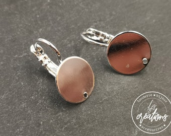Earrings with sleepers with tray -12mm - hole - brass finish silver 925