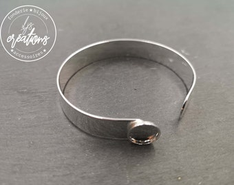 Made in France - Ribbon bracelet 10x1mm with bowl ø10mm - Brass / tinplate silver finish 925 - Made in France