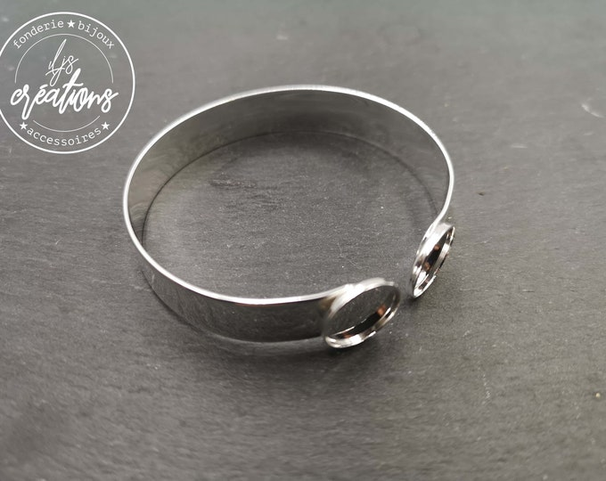 Made in France - 10x1mm ribbon bracelet with 2 bowls - Laiton/white finish silver 925 - Made in France