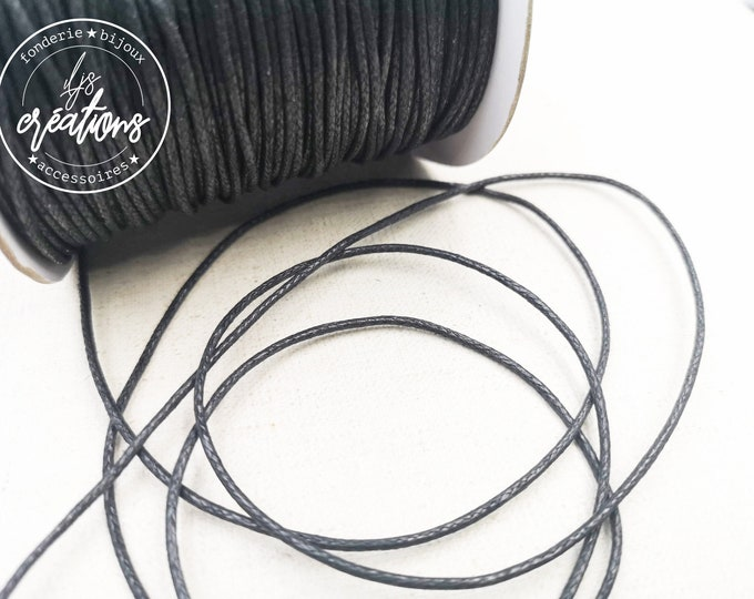 10m waxed cotton cord - Black
