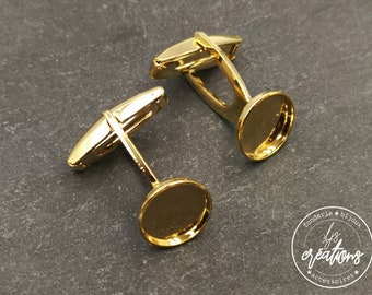 Cufflinks with round tray - gilded