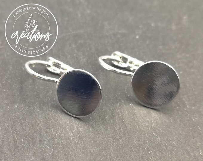 With default - Earrings with tray of 10mm and sleepers - brass finish silver 925