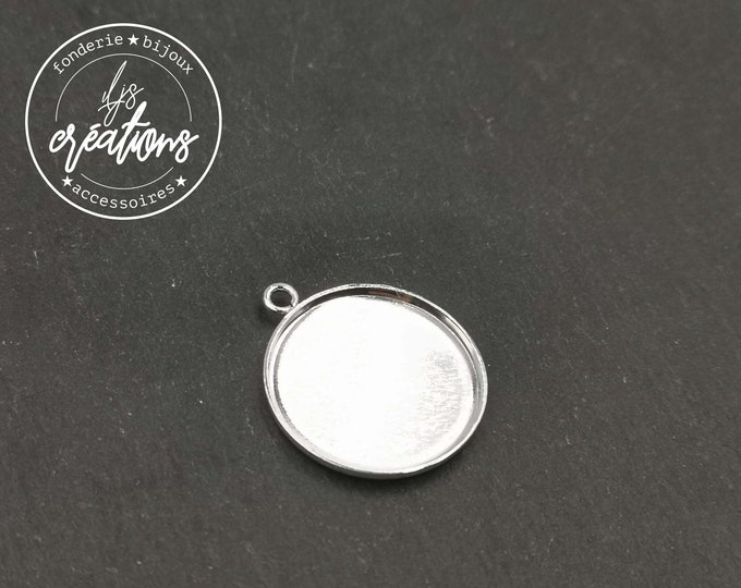 New - Pendant ø12mm + 1 ring - brass silver finish 925