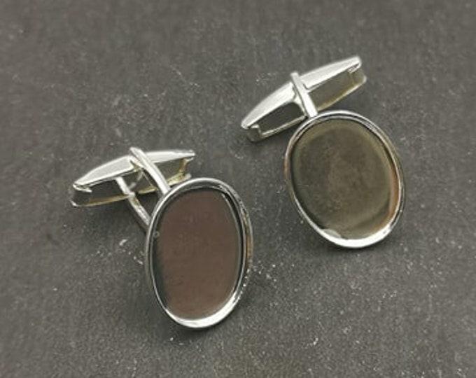 Cufflinks with 13x18x1mm bowl - brass silver finish 925