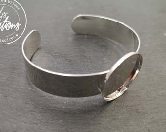 Made in France - 13mm ribbon bracelet and bowl of '25x2mm ' - Laiton finish silver 925