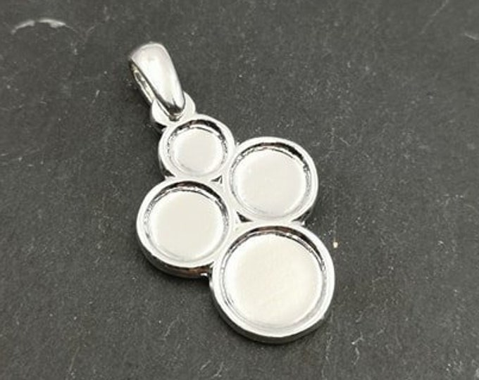 Multi bowl pendant 19x24 with 3 bowls - 5/7/9mm silver finish 925