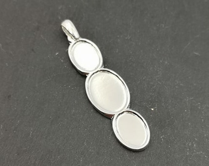 15x49mm oval multi-bowl pendant with 3 10x13 bowls and 13x18mm tin finish silver 925