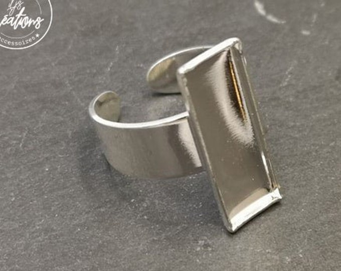 Made in France - Rectangle ring 7.5x21.5x1.5mm brass silver finish 925
