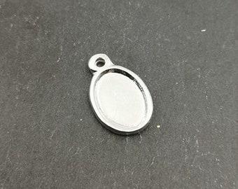 Pendentif Ovale - 10x13x1mm en étain finition argent 925
