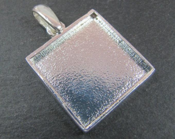 Square pendant support - 19x19x2mm - silver finish tin 925
