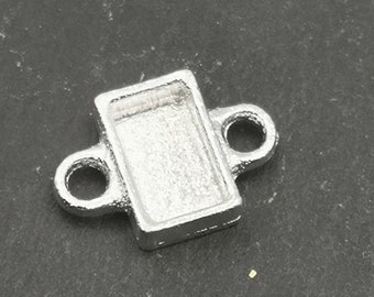 Connector rectangle 7x11x2mm - Tin finish 925 sterling silver