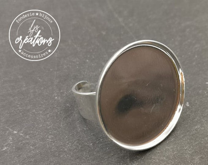 Round ring - 25x1.5mm brass silver finish 925 - made in france