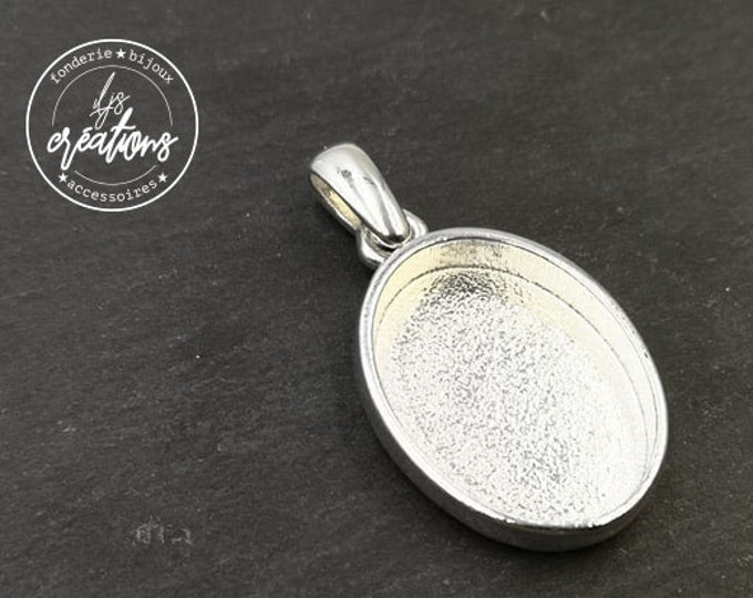 16X23X4mm Oval Beaker Pendant Support - Laiton/white silver finish 925 - Made in France