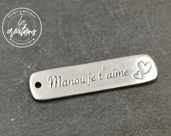 """Silver tin medal finish 925 - 10x40mm """"Manou"""" made in France"""