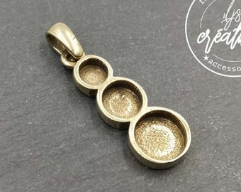 Multi bowl pendant 27mm long with ram 3 bowls ø5/7/9mm tinplate brass finish - made in France